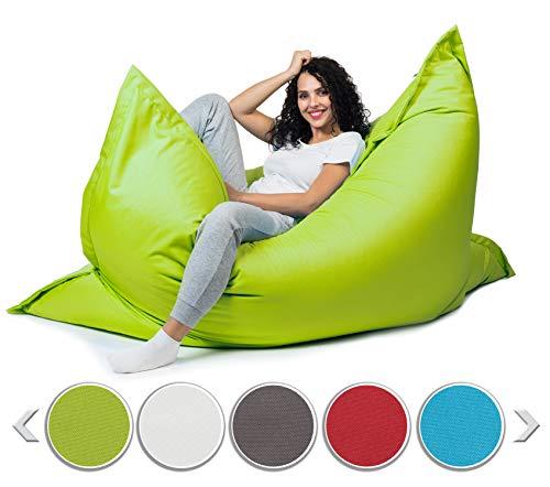 sunnypillow XXL Sitzsack, Riesensitzsack Outdoor & Indoor 180 x 145 cm mit 380L Styropor Füllung Sessel für Kinder & Erwachsene Sitzkissen Sofa Beanbag viele Farben und Größen zur Auswahl Grün