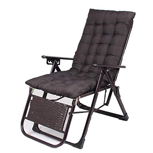 Pliable Portable Recliner en Plein Air Plage Chaise Bureau Nap Lit Retour Rotin Chaise Amis Rassemblement Peut Porter 200 kg (avec Noir Mat Court)