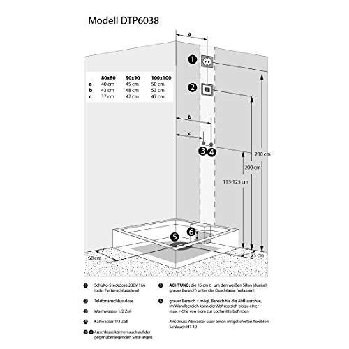 AcquaVapore DTP6038-2303L Dusche Dampfdusche Duschtempel Duschkabine -Th. 100×100, EasyClean Versiegelung der Scheiben:2K Scheiben Versiegelung +99.-EUR - 3