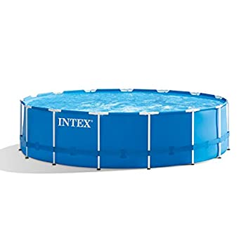 Intex 28241EH 15ft x 48in Metal Frame Outdoor Above Ground Swimming Pool Set with Filter Pump Ladder Ground Cloth and Pool Cover