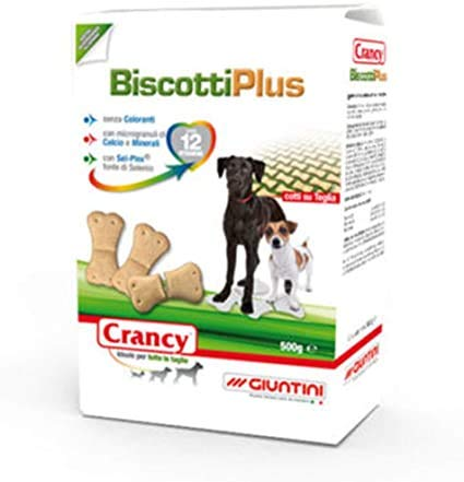 Crancy Biscotti Plus per Cani (3 pacchi da 500g) Cotti su teglia Senza coloranti con 12 vitamine
