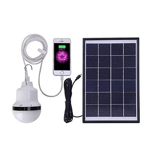 SGJFZD Panel Solar al Aire Libre Powered LED Bombilla LED Lámpara LED portátil Camping Tienda Luz LED Luz de Pesca Gancho (Color : White)