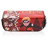 Hilloly Naruto Shippuden Estuche con Cremallera y Bolsa de Lápices de Colores de Impresión, Caja Case con Cremallera de Escolar, Lápiz de Gran Capacidad Bolsas
