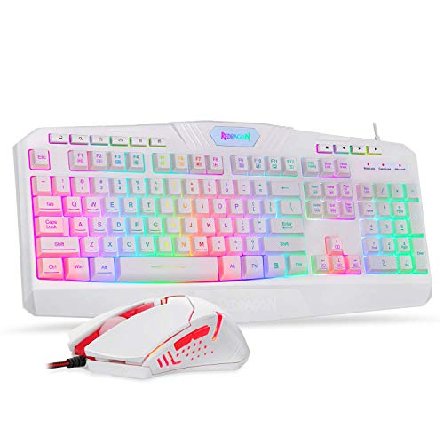 Redragon S101 Wired Gaming Keyboard and Mouse Combo RGB Backlit Gaming Keyboard with Multimedia Keys Wrist Rest and Red Backlit Gaming Mouse 3200 DPI for Windows PC Gamers (White) (Renewed)