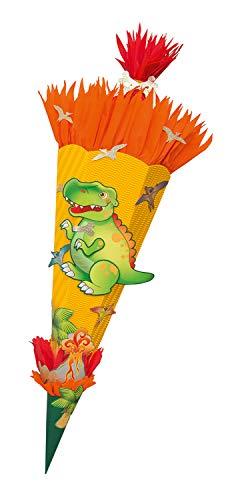 folia 92208/22222 Schultüten Bastelset Dino, inklusive Schultütenrohling aus 3D Wellpappe ca. 68 cm, Motivbögen und Bastelzubehör, gelb