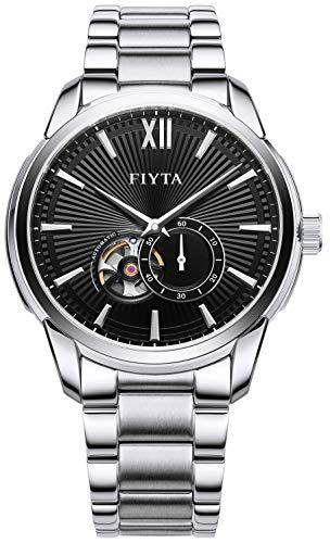 FIYTA Classic Orologio da uomo automatico nero con cinturino in metallo argentato e irre/Open Heart GA802073.WBW