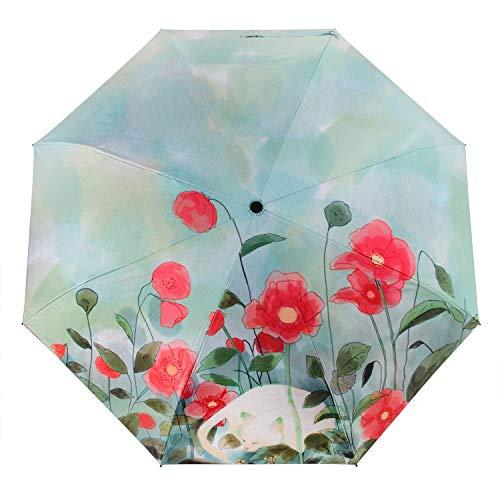 Tragbarer Klappbarer Automatischer Regenschirm, Teleskopischer Leichter Und Kompakter Reiseschirm, Sonnenschirm, Winddicht, Regendicht, 99% UV-Schutz, Schwarze UV-Schutzschicht, (Farbe : Hellgrün)
