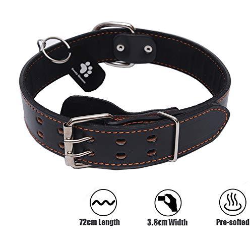 Sweety Moomoo Echtes schwarzes Leder Haustier Hundehalsbänder für mittlere und große Hunde (XL(48-64