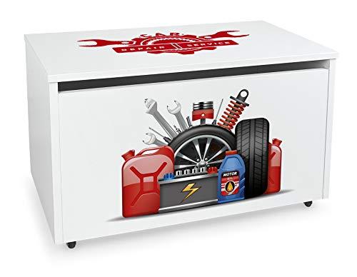 Leomark Contenitore portagiochi in legno, Grande baule per giocattoli, panca su ruote, scatola con coperchio, cassapanca per bambini, dimensioni: 71 cm x 40,5 cm x 45 cm (LxPxA) (Auto Service)