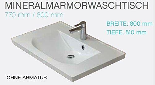 PELIPAL Trentino 770/800 Mineralmarmor Waschtisch/Weiß / 80 x 3,5 x 51 cm