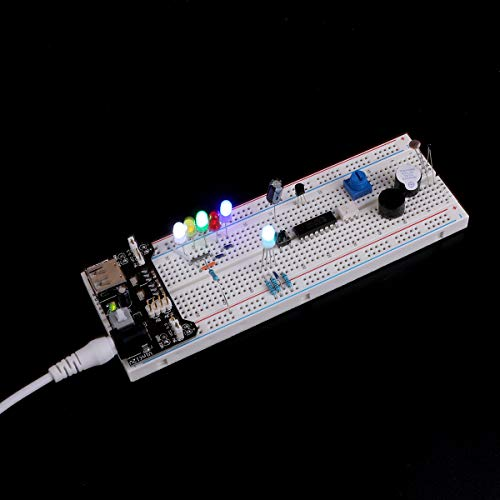 ELEGOO Überarbeitetes Elektronik Lernset Spaßset Stromversorgungsmodul Jumperkabel Potentiometer Breadboard Komponente Sortiment für Arduino