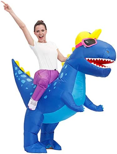 Decalare Adult Kids Size Inflatable T REX Dinosaur Costume Fancy Costumes Halloween Party Cosplay product image
