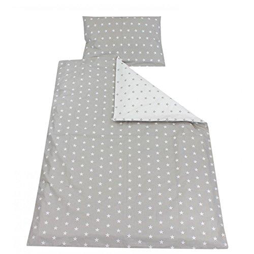 TupTam Kinder Bettwäsche Gemustert 2-Teilig, Farbe: Sterne Grau, Größe: 135x100 cm
