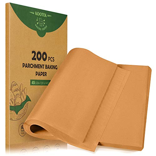 Kootek 200 Pcs Parchment Paper Baking Sheets, 12 x 16 Inch Heavy-duty Baking Paper Pre-cut Unbleached Bakery Paper for Cooking, Baking, Steaming, Air Fryer, Grilling, Roasting, Cookies (Brown)
