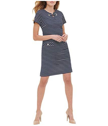 Tommy Hilfiger Women's Scuba Crepe Two Pocket Dress, Sky Captain/Ivory, 2