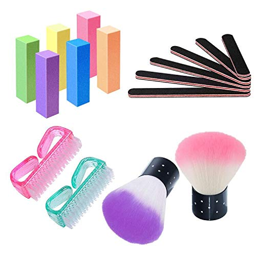 Nail Files and Buffer Professional Manicure Tools Fingernail Scrub Cleaner BrushesKabuki Brushes, Set of 16