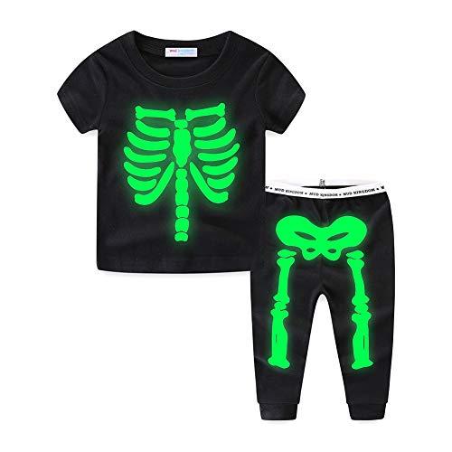 Mud Kingdom Brillan en la Oscuridad Esqueleto Niños Conjuntos de Pijamas Verano 5 Años Negro