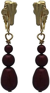 PORTIA Gold Plated Bordeaux Glass Bead Clip On Earring
