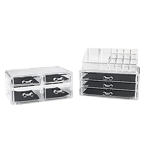 ZSYXM joyero Rack de Almacenamiento de cosméticos acrílicos con 7 cajones apilables Transparentes