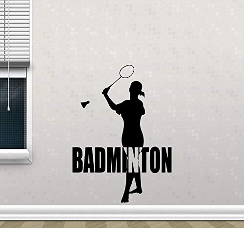 IOIUG Sport Mädchen Silhouette Vinyl Wanddekor Aufkleber Badminton Aufkleber Schlafzimmer Home Decoration Gym Schule Wandtattoo Sport 57X79Cm