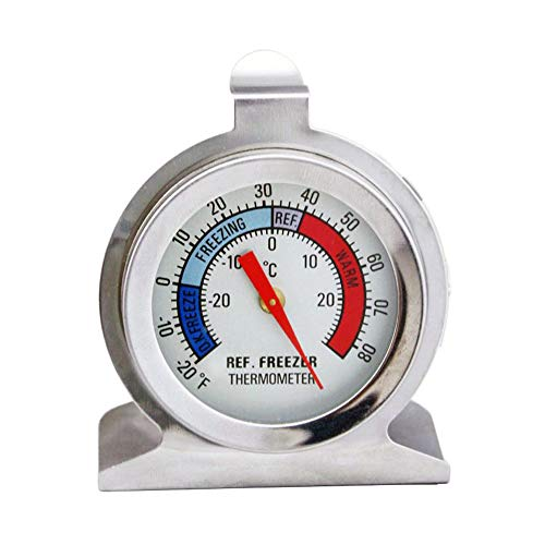 XMDZ Thermomètre Réfrigérateur Congélateur Acier Inoxydable Sans Fil Indicateur de Température Compteur Analogique Cuisine Affichage -20~20ºC Échelle Fahrenheit/Centigrade avec Crochet Suspension