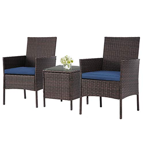 SOLAURA Outdoor 3-Piece Furniture Brown Wicker Bistro Set Conversation Chairs & Glass-top Coffee Table Set(Navy Blue)