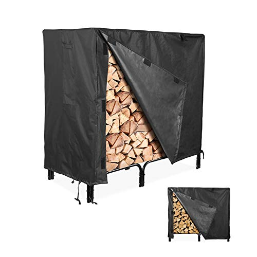 Flymer Heavy Duty 4ft Firewood Rack Protective Cover Log Storage Outdoor Cover Protecting Your Firewood Rack and Logs Black