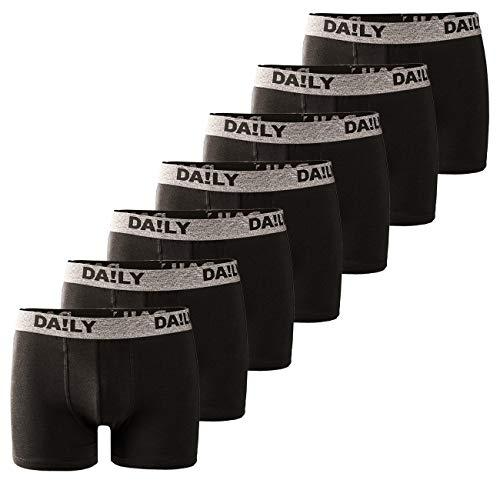 DA!LY UNDERWEAR Herren Boxershort Basic Boxer Retro Trunks 7er Pack Unterhosen Schwarz Waistband Bunt 95% Baumwolle Daily S M L XL XXL 3XL 4XL 5XL 6XL, Größe:4XL, Farbe:Grau/Schwarz