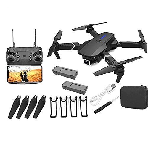 WYZXR GPS Drone E88 Pro para Adultos Cámara 4K Plegable Video en Vivo Drone RC Quadcopter Aviones con Sistema APK, Video, Tiempo Real, Transmisión, One Key to Return, 2 Baterías
