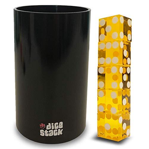 Turmwürfeln-Becher-Set - Professionelle gerade Becher mit 5 Stück 19 mm großen, echten Casino-Würfeln mit Rasiermesserkanten in Einer Box - Zubehör - Zaubertricks, gelb