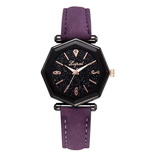 TCEPFS Mode Leder Frauen Uhren Luxusmarke Casual Damen Quarzuhr Armbanduhren Uhr Montre Femme Uhren para MujerLila