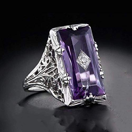 Wenbin 925 Sterling Silver Large Amethyst Ring Square Cut Gemstone Ring Wedding Ring Female Jewelry Size 6-10 (US Code 10)