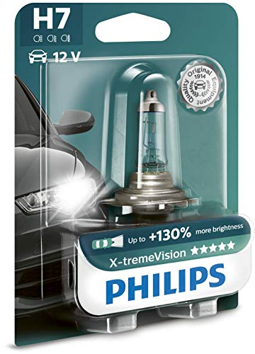 Philips 12972XV+B1 X-treme Vision +130 Lampada Alogena H7, 12V 55W, 130% di Luce in Più, 40% Più Bianca