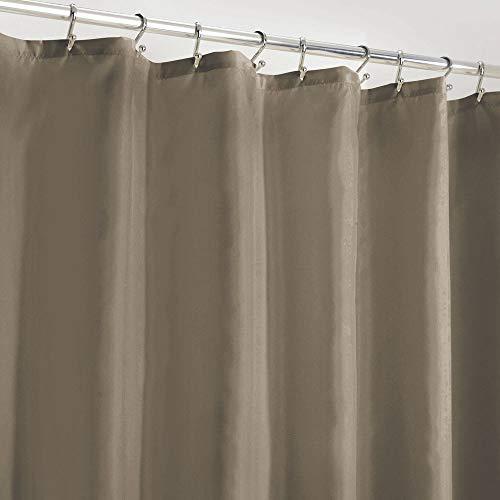 mDesign Duschvorhang Anti-Schimmel – wasserabweisender Vorhang für Dusche & Badewanne – moderner Badewannenvorhang mit zwölf verstärkten Löchern & Gewichten im Saum – taupe
