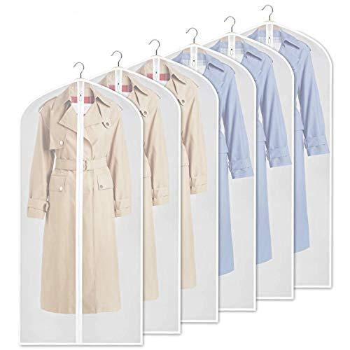 URMI Yibak Garment Covers Bag (6 PCS), 60inch Suit Bag for Storage Cloth Cover Anti-Moth Protector Washable Clear Reuse Full Zipper Garment Bags for Long Dress Costumes Suits Gowns Coats (60 * 152CM)