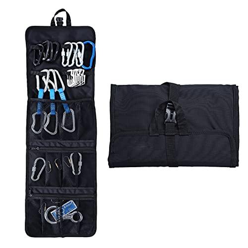 fuguzhu Kletterseil Tasche zum Aufhängen, faltbar, für D-Ring-Kletter-Haken/Seil-Ausrüstung, Professionelles 420D reißfestes Oxford-Gewebe Klettertasche für Klettern, Bergsteigen (Schwarz)