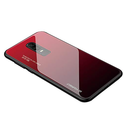 AIsoar Compatible with OnePlus 7 Colored Gradient Tempered Glass Case,Tempered Glass Back Cover + Soft TPU Bumper Frame Shockproof Anti-Scratch Protective Cover Shell (Red + Black)