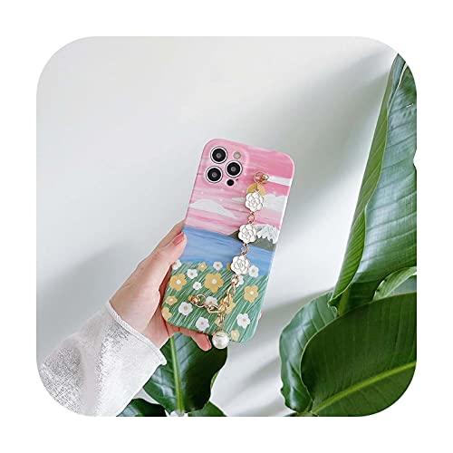 Caja del teléfono de la flor de la pintura al óleo del arte para el iphone 12 mini 11 Pro max 8 7 plus X XR XS Max SE 2020 lindo Camellia pulsera cubierta casos-CN171-For-iphone11