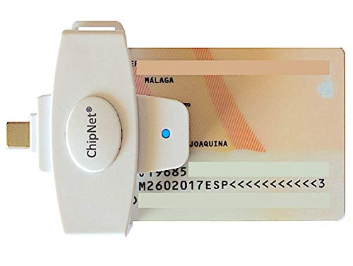 ChipNet iMICRO Lector de DNI electrónico para Mac USB C * Incluye Adaptador USB A * Mac/Windows *Funciona en Catalina Y Big Sur *Similar a iBOX Plus * Empresa Española * Servicio Posventa Personal *
