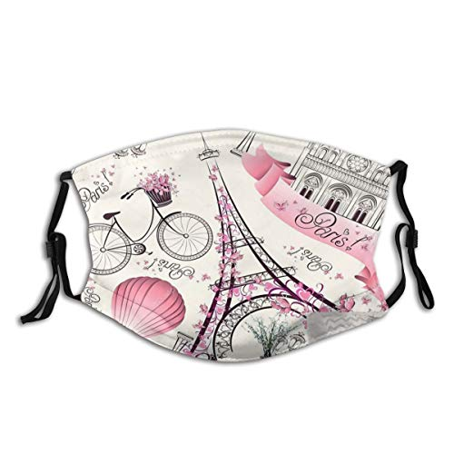 EILANNA-Balaclava-1 Paris Eiffel Tower Pink Flowers and Butterflies Bicycle Mouth Face Cover Anti Dust Windproof Covers - - One Size