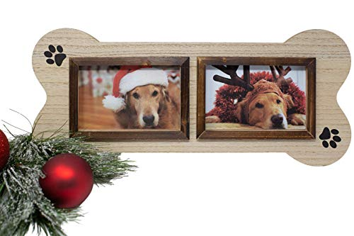 Dog Picture Frame Unique Collage, 4x6 Two Photo picture frame in the shape of a Dog Bone. Makes a great gift for anyone who has dogs.