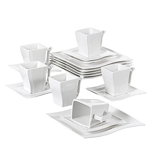 MALACASA, Serie Flora, 18 TLG. Set CremeWeiß Porzellan Kaffeeservice Geschirrset mit je 6 Kuchenteller, 6 Tasse 220ml, 6 Untertasse für 6 Personen
