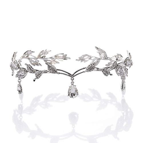 FOMIYES 1 pieza de hojas de novia tiara de cristal para novia,...