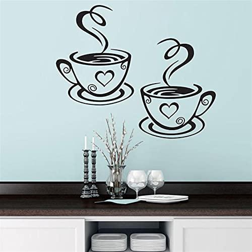 TYUTYU Etiqueta de la Pared Tazas de café Doble Cafetas PVC Vinilo Arte Etiquetas Adhesivas Adhesivo Pegatinas de Cocina Decoración de la habitación (Color : A)