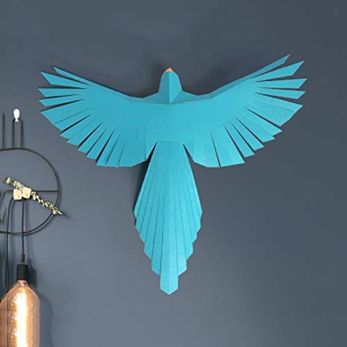 HUIJU 3D pequeño pájaro de Origami Animal Kit, DIY Papel Pared del Trofeo PAPERCRAFT Kit de construcción Animal Pared Montada,Azul