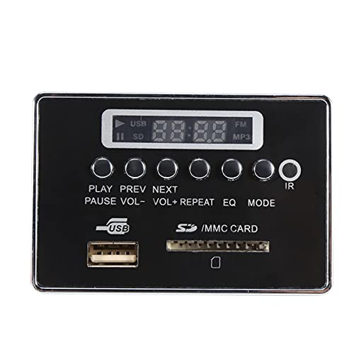 Emoshayoga Módulo De Audio, Placa Decodificadora De MP3 Módulo De Placa Decodificadora De Audio Módulo De Placa Decodificadora WMA/WAV De Dos Canales Función De Radio FM(12 V Bluetooth Edición Negra)