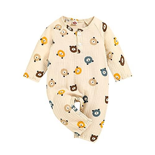 Beauace Pijamas de Algodn para Recin Nacidos Onesie Trajes de Dibujos Animados Mameluco para Bebs Pijamas para Recin Nacidos Mono de Manga Larga Onesies 0-18 Meses (Albaricoque, 3-6 Meses)