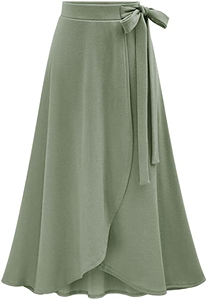 Women's Casual High Waist Stretchy A-Line Split Comfy Sweater Tie Waist Midi Skirt
