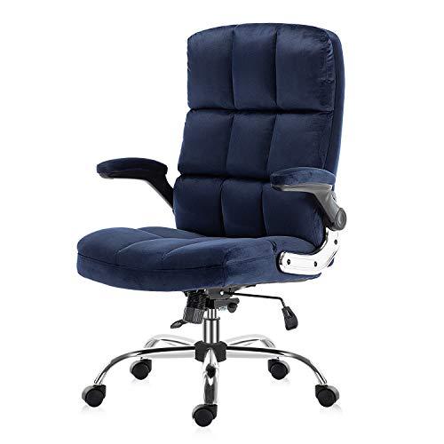 YAMASORO Silla de oficina ergonómica ejecutiva con respaldo y brazos para oficina en casa, ajustable, material de terciopelo (azul oscuro)