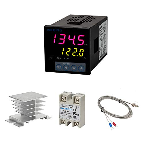 Inkbird PID Temperature Controller Set, High Voltage 100ACV to 240ACV, Comes with SSR 40DA Solid State Relay, K Type Thermocouple, and White Heat Sink